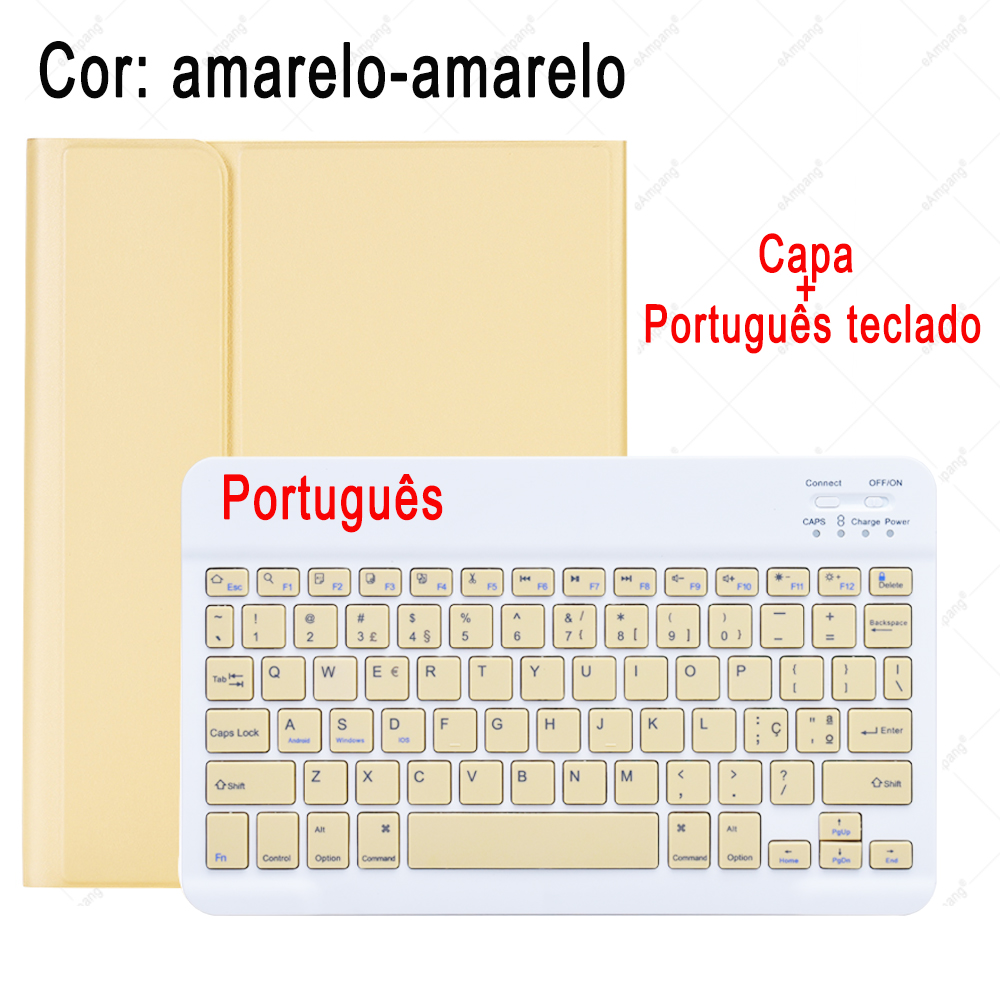 Portuguese Keyboard Pale Pink Keyboard Case For ipad 10 2 2019 7 7th 8th Generation A2197 A2198 A2200 A2232 Detachable