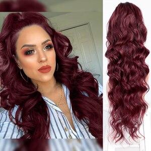 Longo ondulado glorioso cordão rabo de cavalo sintético cordão extensão rabo de cavalo para mulheres vermelho e greey cor falso cabelo