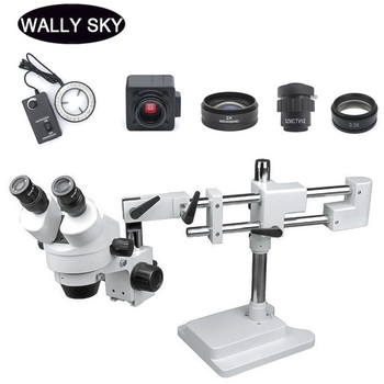 3.5X-90X LED Zoom Stereo Microscope Trinocular Stereo Microscope Double Arm Boom Stand 5MP USB Camera For Industrial PCB Repair 7 45x magnification continuous zoom trinocular stereo microscope micromirror usb microbial digital video electron