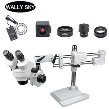 3.5X-90X LED Zoom estéreo microscopio Trinocular estéreo microscopio dos brazos Boom Stand 5MP USB cámara para reparación de PCB Industrial