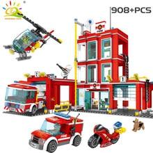 Huiqibao estação de bombeiros blocos de construção caminhão da cidade helicóptero barco carro bombeiro tijolos educativos crianças brinquedos