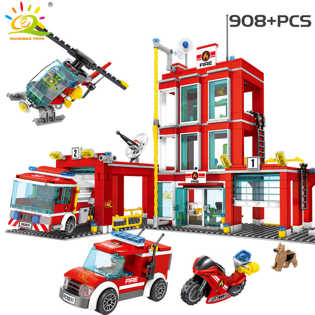 HUIQIBAO Fire station Building Blocks city Truck Helicopter boat car firefighter Bricks Educational Children Toys