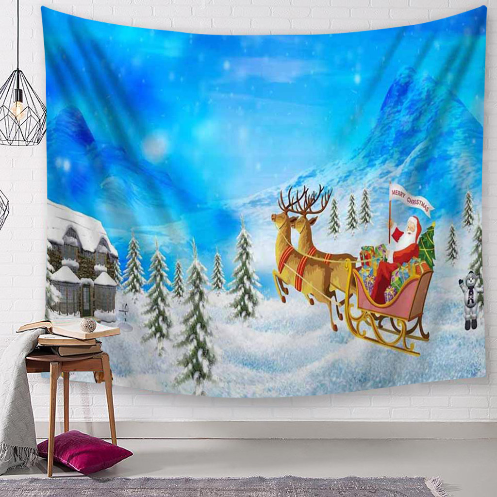 Christmas Tapestry Santa Claus Snowman macrame Wall Hanging Tapestry Handmade Christmas Decorations for Home tapisserie mural /c image