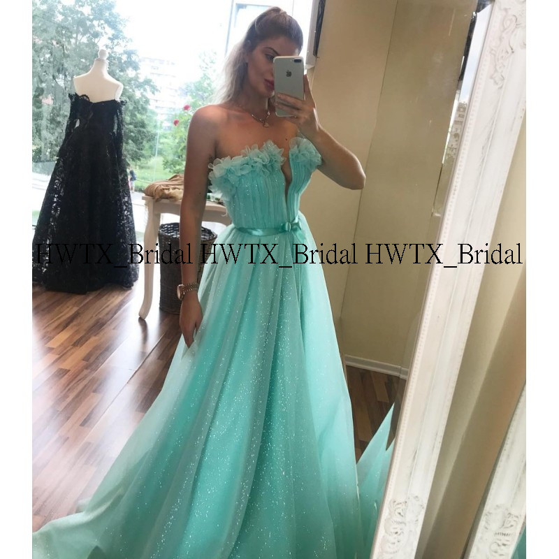 Hwtx nupcial hortelã verde longo vestidos de baile 2020 novas lantejoulas tule a linha formal festa à noite vestidos de fiesta personalizado - 2