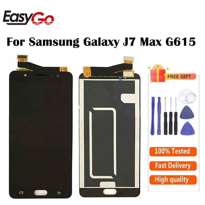 Ajustável para samsung j7 max display j7max lcd com tela de toque digitador assembléia g615 display frete grátis