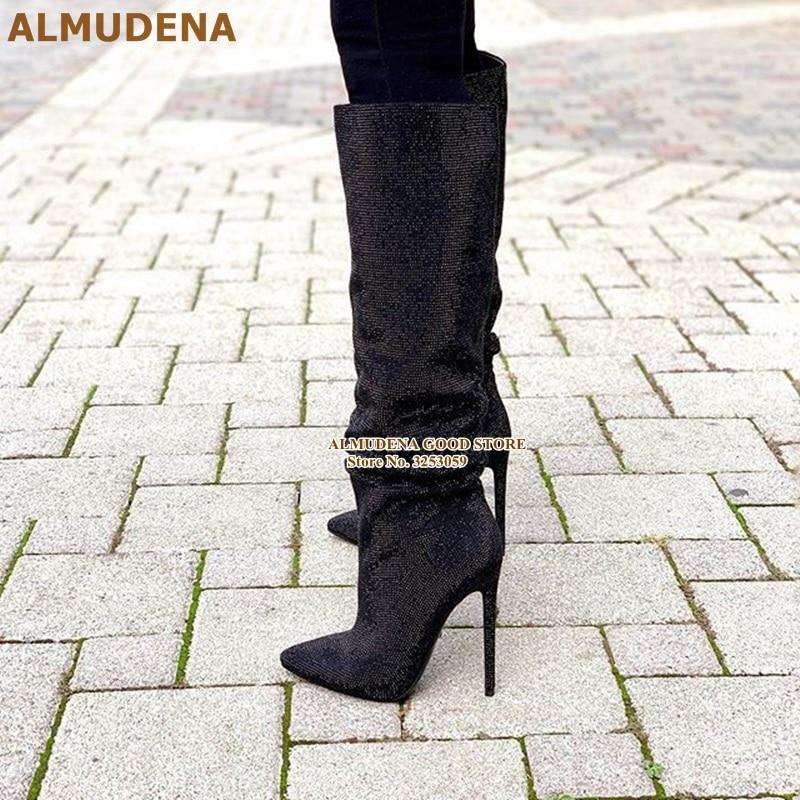 黑色水钻细高跟及膝靴 (2)