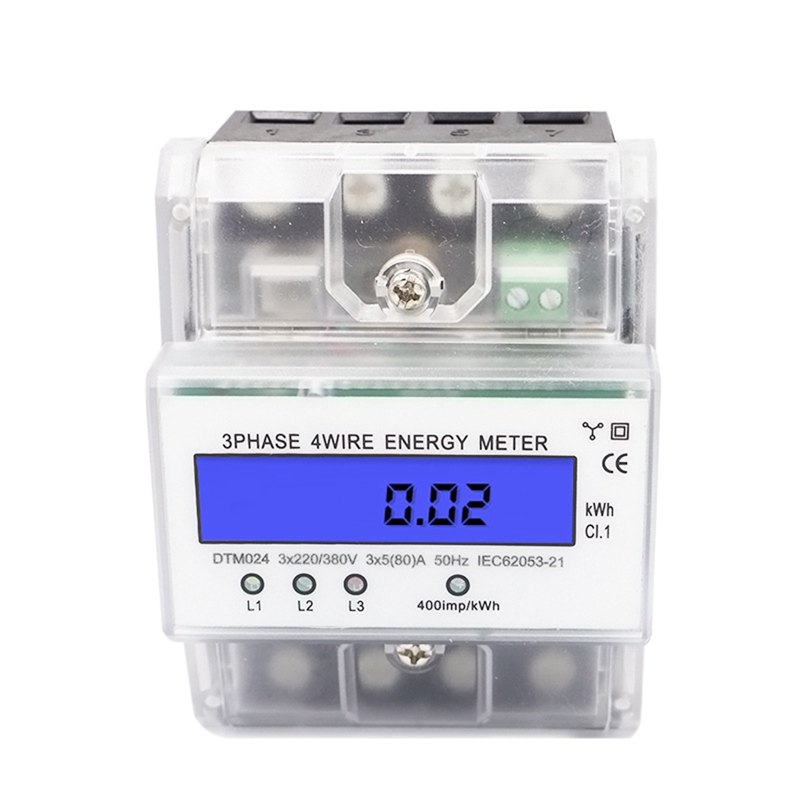 Aletler'ten Basınç Göstergeleri'de Elektrik enerjisi ölçüm cihazı DIN demiryolu wattmetre enerji ölçer güç ölçer 3 fazlı 4 tel DTM024 dijital LCD 5 80A title=