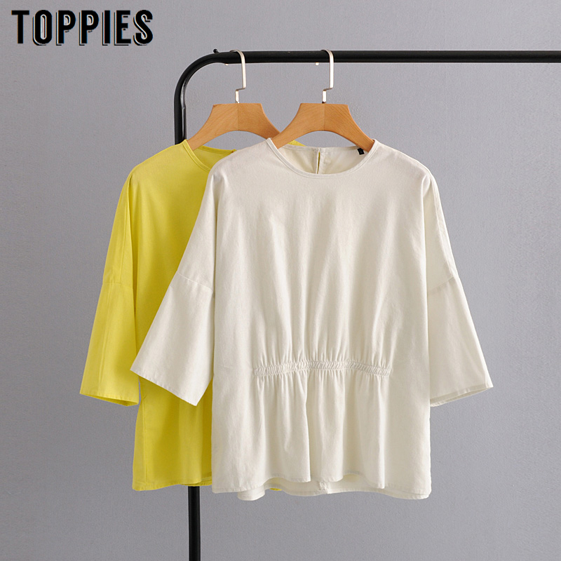 2020 Summer Cotton Tops Three Quarter Sleeve White Blouses Solid Color Leisure Shirt Vacation Clothes