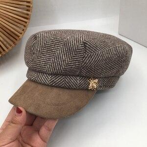 Image 3 - Militär hüte Herbst und winter neue wildleder nähte kappe weiblichen Britischen retro achteckige kappe flut nehmen navy kappe trendy street beat