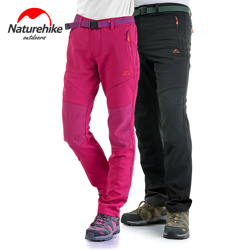Naturehike Outdoor Soft Shell Pants Women Black Fleece Trousers Cold Winter Warm Full Length Pants Wearable Charge Loose Pants