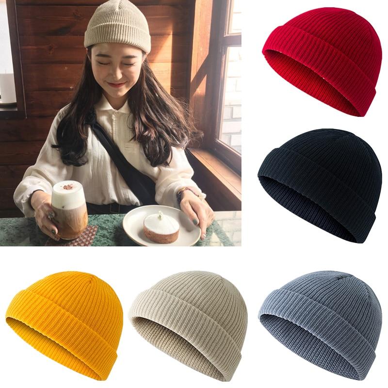 Retro Warm Winter   Beanies   Solid color Hat Skull Knit cap Men Women Solid Knitted   Skullies   Cap Male Black Hat