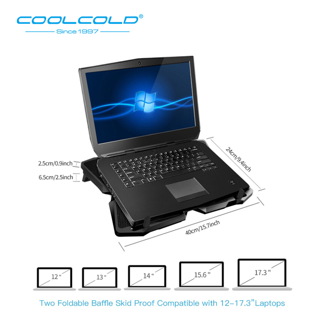 Laptop Cooler Laptop Cooling Pad Notebook Gaming Cooler Stand with Four Fan and 2 USB Ports for 14-17inch Laptop 5