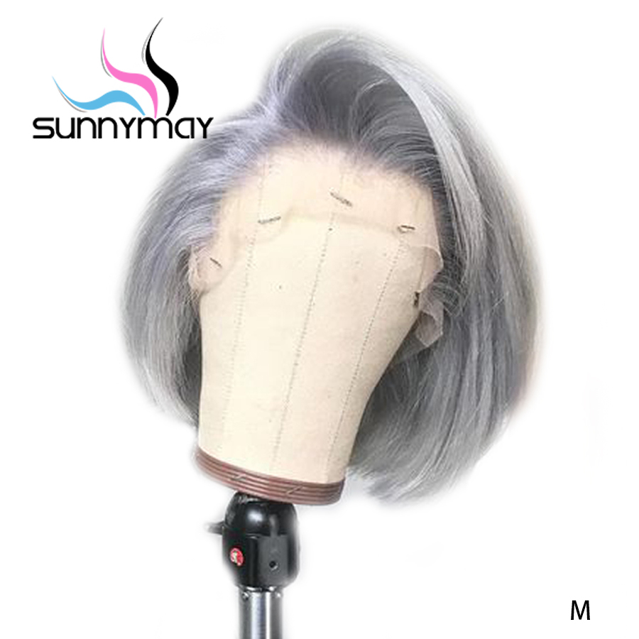 Sunnymay 13x4 Lace Front Human Hair Wig Grey Color Bob Wig 130% Glueless Pre Plucked With Baby Hair Remy Straight Lace Front Wig