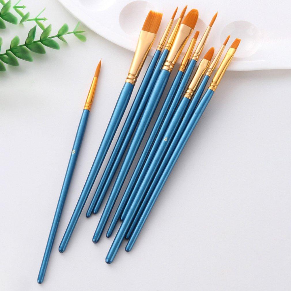 Художественная нейлоновая кисть для рисования профессиональная Акварельная акриловая деревянная ручка кисти для рисования художественные канцелярские принадлежности 10 шт. 4