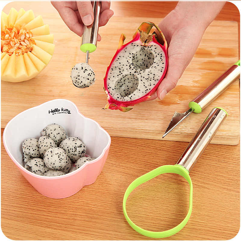 Kitchen Gadget  Stainless Steel Fruit Digger  Watermelon Carving Device Ice Cream Digger Kitchen Tools