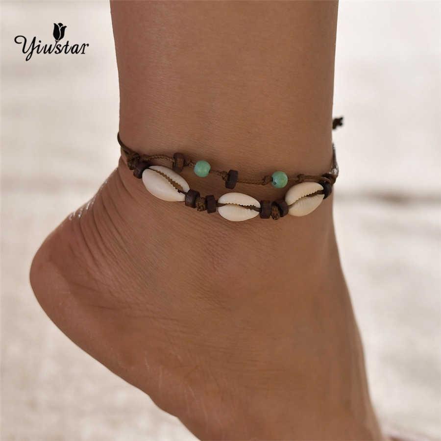 Yiustar hojny obrączki powłoki Foot biżuteria lato plaża Barefoot bransoletka kostki na pasek na nogi czeski biżuteria dla mężczyzn Keepsake