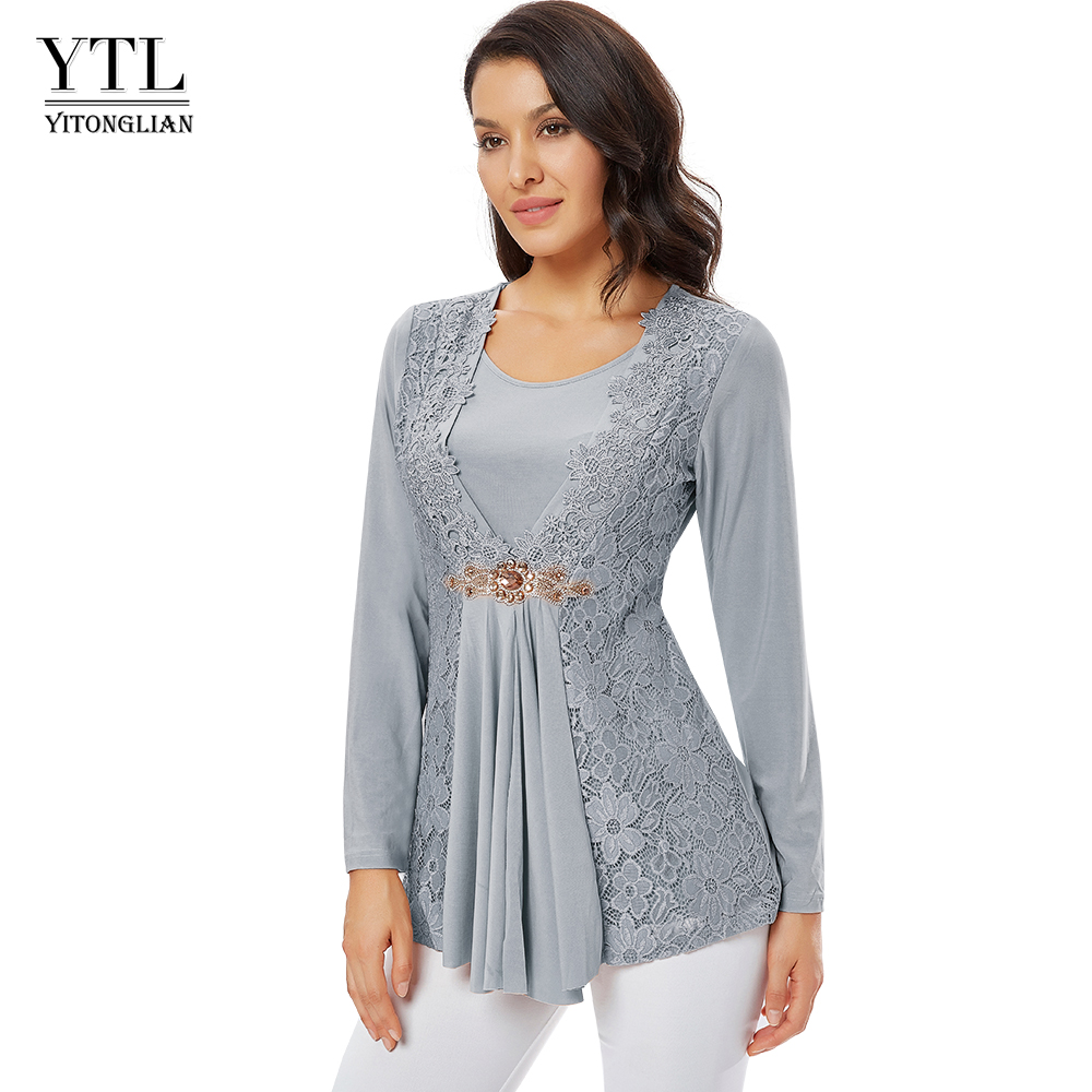 YTL Ladies Golden Diamond Waist Decoration Slim Tunic Tops Casual Party Long Sleeve Women Elegant Lace Floral Blouse Shirt H025G