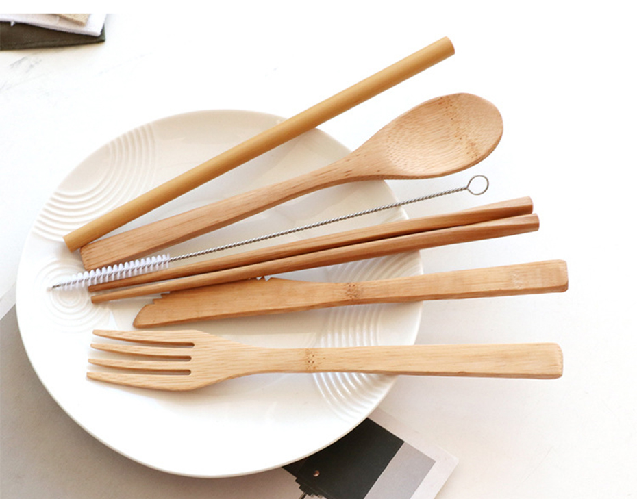 TUUTH 6pcs/set Bamboo Cutlery Straw Dinnerware Set Eco-friendly Travel Portable Wooden Tableware Set Spoon Fork Chopstick