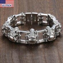 Davieslee Skull Biker Men s Bracelet for Men Motorcycle Link 316L Stainless Steel Bracelet DLHBM62