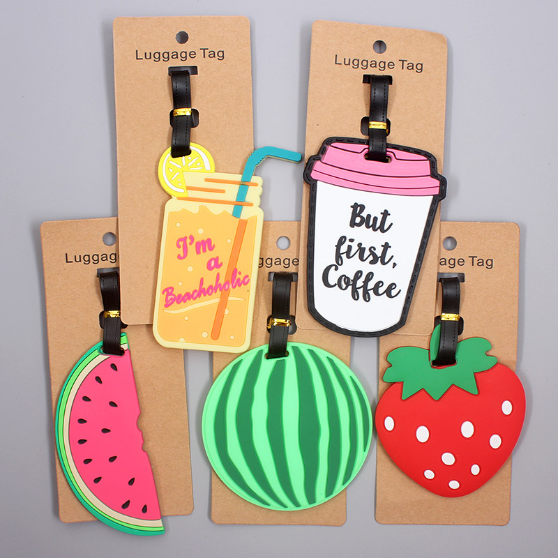 Cute Watermelon Fruits Travel Accessories Luggage Tag Silica Gel Suitcase ID Addres Holder Baggage Boarding Tag Portable Label