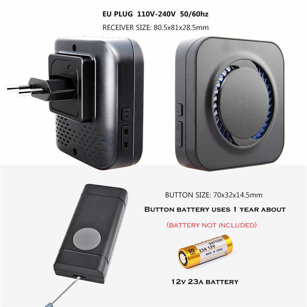 ก๊วยไร้สาย Doorbell EU Plug 300M ยาวประตูบ้านกระดิ่งแหวน call 1 2 ปุ่ม 1 2 3 ตัวรับสัญญาณ LED light Deaf