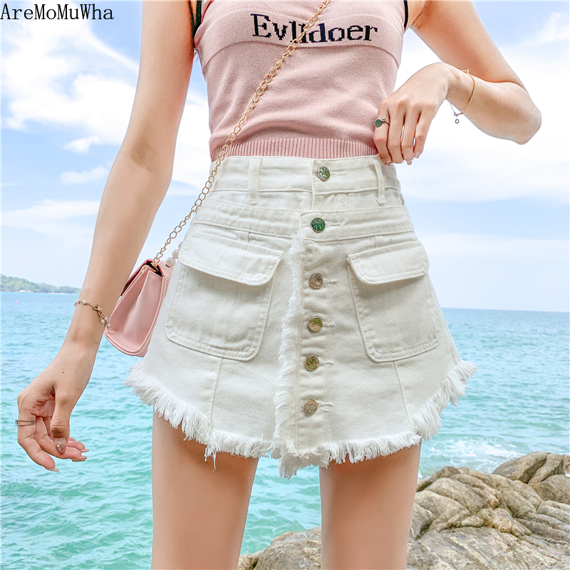 AreMoMuWha Korean Version Of The Large Size High Waist Denim Shorts Female Summer Wild Loose Thin Hairy Wide Leg A Shorts QX1157