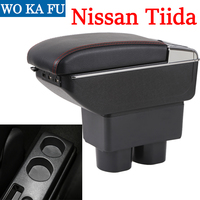 for Nissan Tiida armrest box universal car center console caja  modification accessories double raised with USB|Armrests| |  -