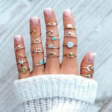 Nowe akcesoria ze strzałką słońce rozgwiazda kompas księżyc oczy fala mountain peak zestaw pierścieni dla nowoczesnej mody kobiet prezenty hurtowych