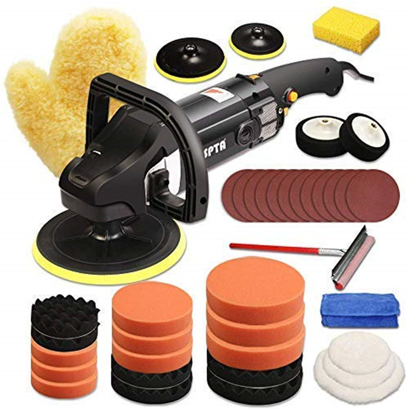 SPTA 7 Inch Car Polishing Machine With Polishing Pad Kit High Quality Auto Buffing Machine Rotary Polisher