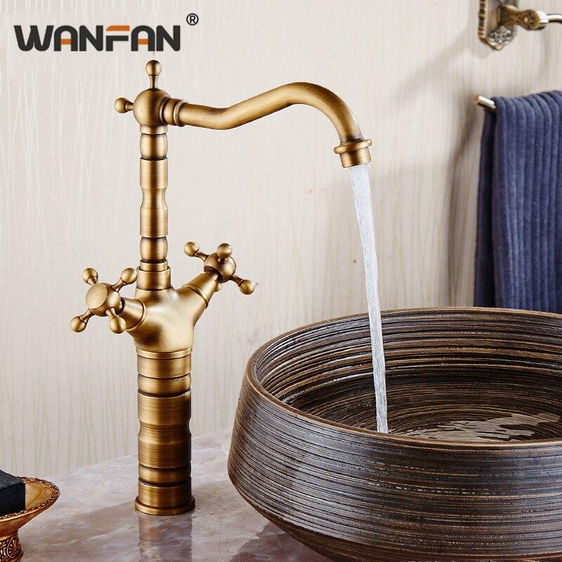 Robinets de bassin 2 croix poignée salle de bains évier robinet unique trou Antique en laiton décoration de la maison vanité hôtel lavage robinets HJ-6712F