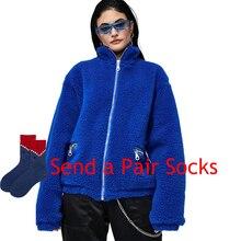 Harajuku Punk High Quality Blue Teddy Zipper Coat Women Winter Faux Fur Jackets Coats Street Oversized Jacket Warm Overcoat