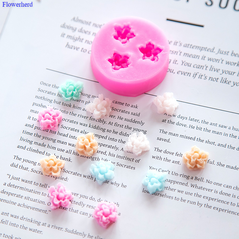 New 3d Flower Soap Silicone Mold 3 Cavities Flexible Silicone Soap Mold Fondant Cake Decorating Tools DIY Chocolate Biscuit Mold