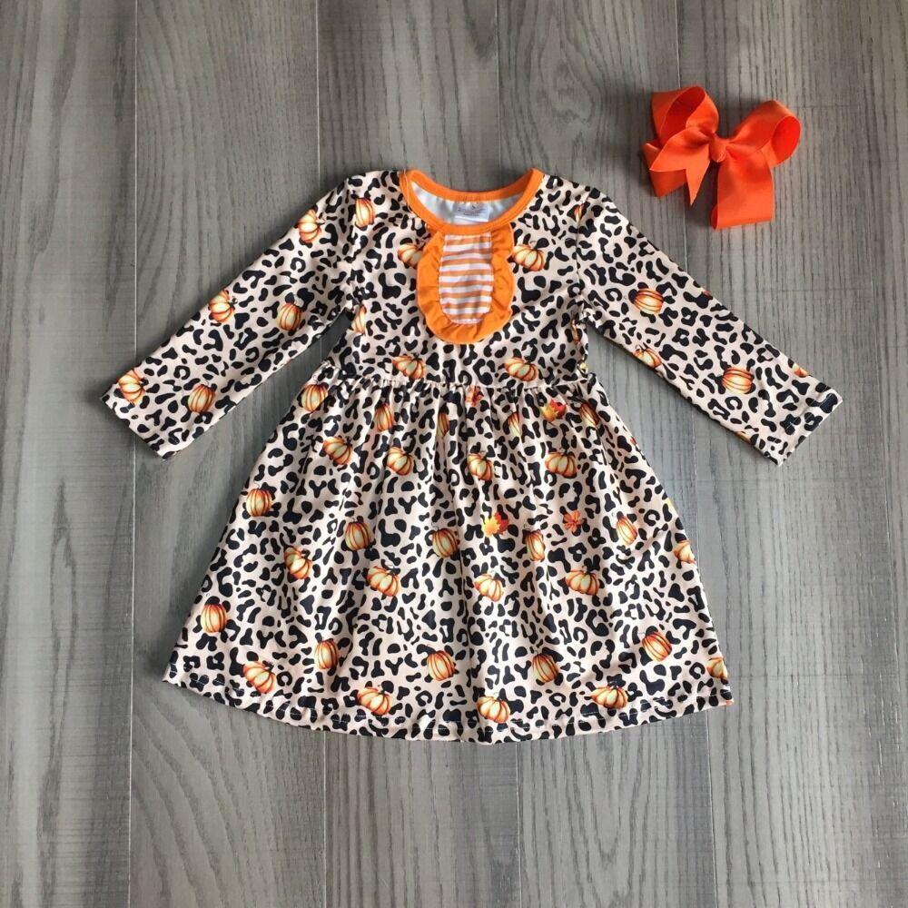 Children Girls Fall Clothes Kids Halloween Leopard Dress Girls Pumpkin Dress With Bow