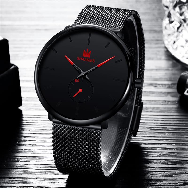 2019 New Mesh Strap Men Watches Minimalism Analog Quartz Watches Luxury Stainless Steel Business Wristwatch Relogio Masculino