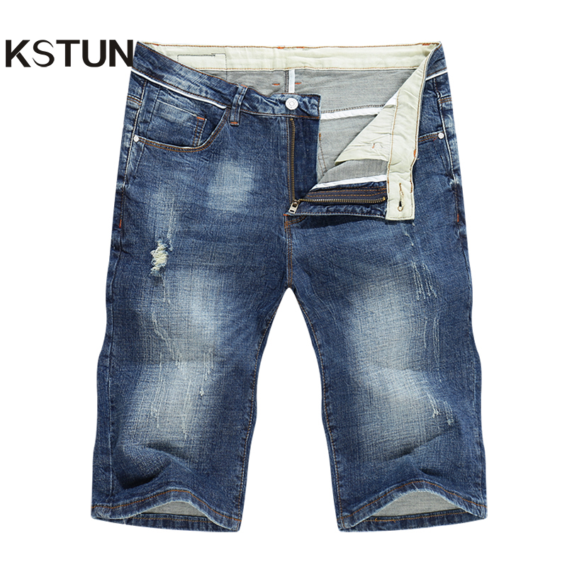 KSTUN 2020 Summer New Men's Denim Shorts Fashion Slim Fit Stretch Cotton Blue Washed Ripped Jeans Man Brand Clothes High Quality