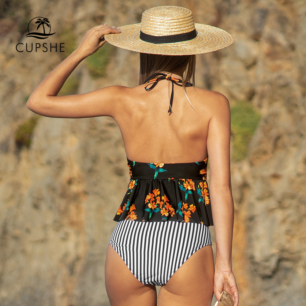 CUPSHE Black Floral Halter Tankini High-Waisted Set Sexy Bikinis Swimsuit Two Pieces Swimwear Women 2020 Beach Bathing Suits 1