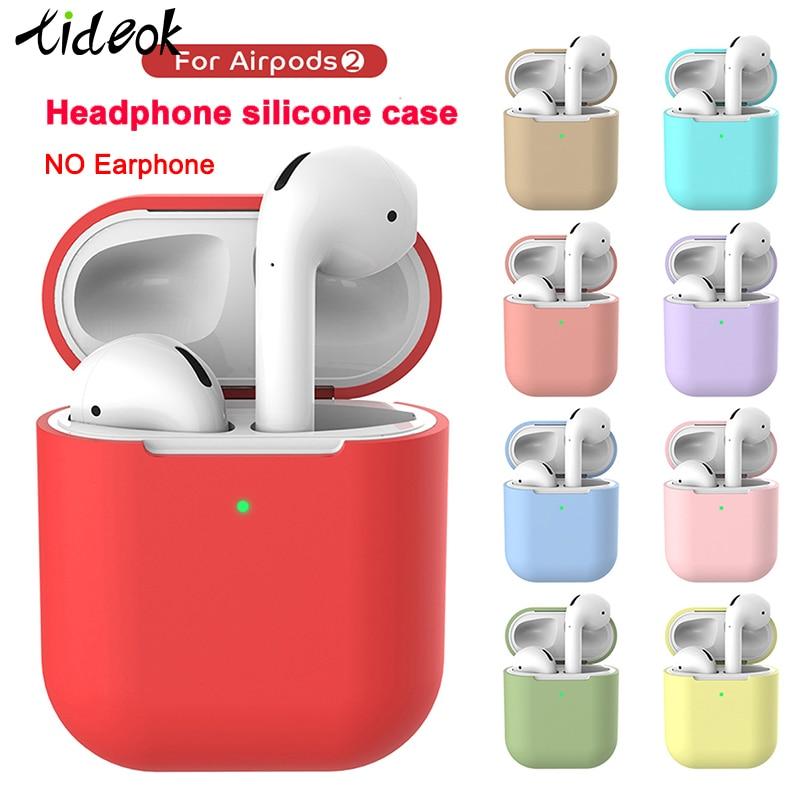 Étui pour écouteurs sans fil Bluetooth en Silicone pour Apple AirPods 1:1 housse de protection couleur unie pour indicateur d'affichage de la boîte de charge