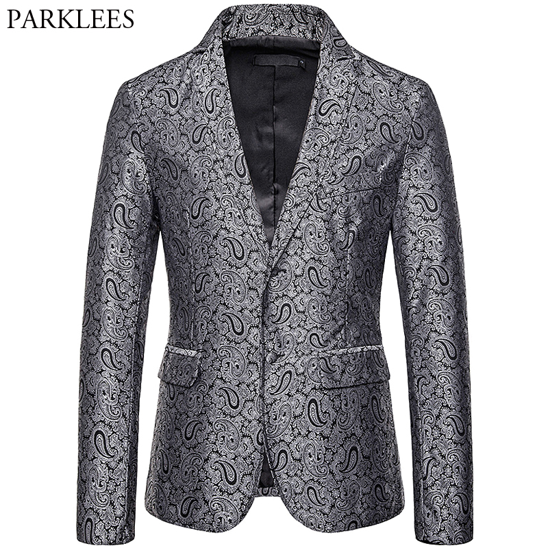 Nightclub Men's Color Cashew Flower Priting Two Buttons Blazer Fashion Casual Suit Jacket Men Homme Stage Bar Singer Clothes