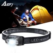 Mini lanterna de cabeça de led, farol recarregável com sensor de movimento corporal, luz de cabeça para acampamento, lanterna com entrada usb