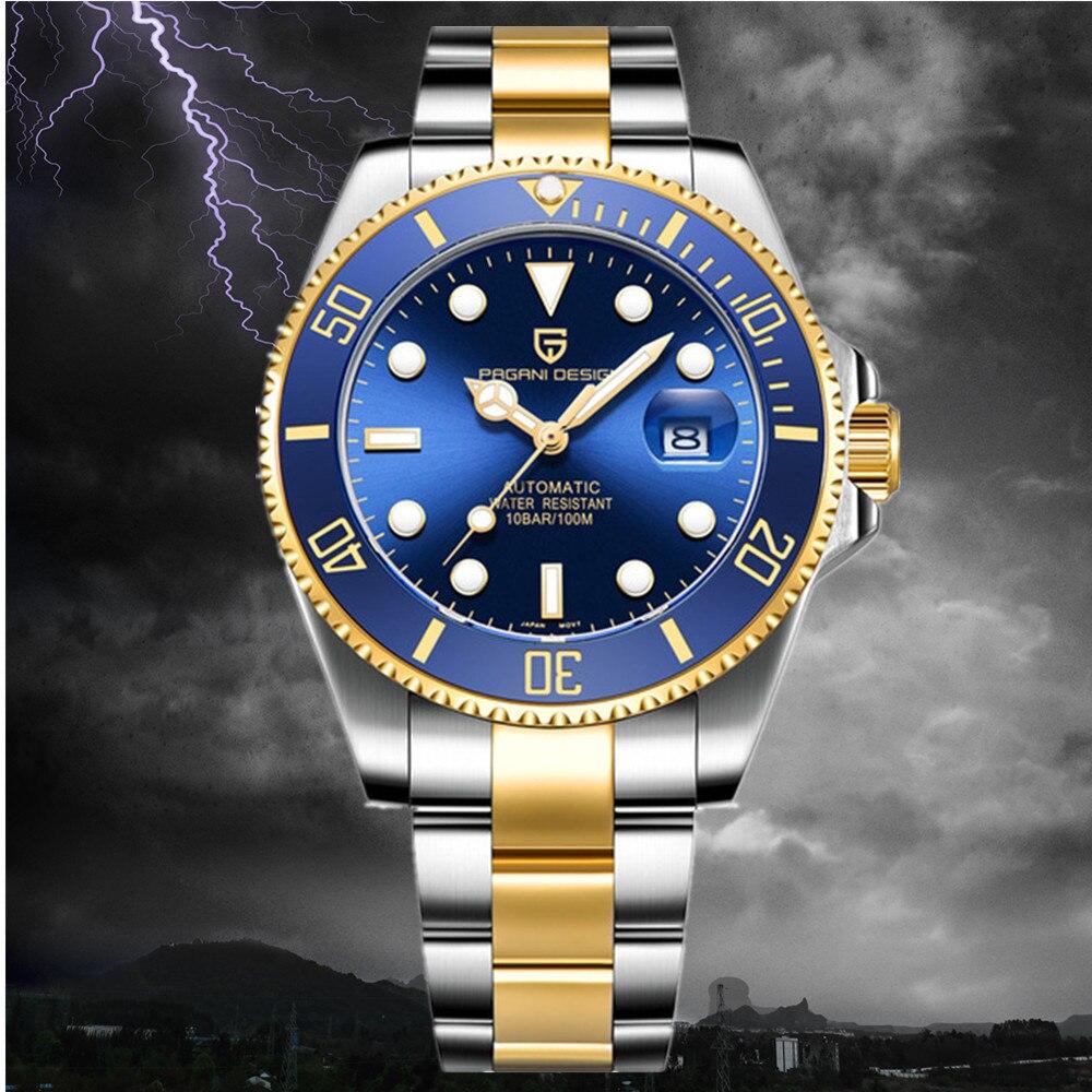 Clássico de Luxo Automáticos à Prova Pagani Design Masculino Relógios Dwaterproof Água Mecânica Relógio Submersível Nh35a
