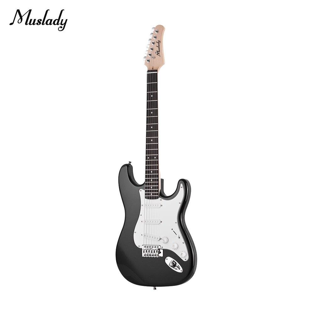 Muslady guitare électrique bois massif Paulownia corps érable cou 21 frettes 6 cordes avec haut-parleur Pitch Pipe guitare sac sangle pics