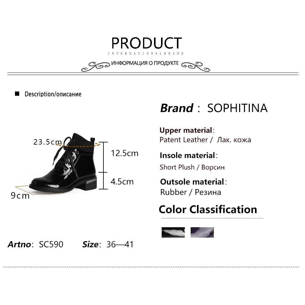 SOPHITINA Patent deri yarım çizmeler siyah kare topuk Lace UP düşük topuk yeni tasarım kadın ayakkabı şık ofis sıcak botlar C590