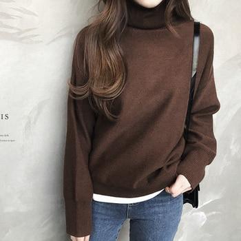 Ailegogo New 2019 Autumn Winter Women's Sweaters Turtleneck Loose Warm Minimalist Tops Korean Style Knitting Ladies SW8307 4