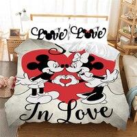 Jogo de cama fofo do mickey mouse  conjunto de cama fofo para casal e crianças  da queen e king size  capas de edredon e fronhas