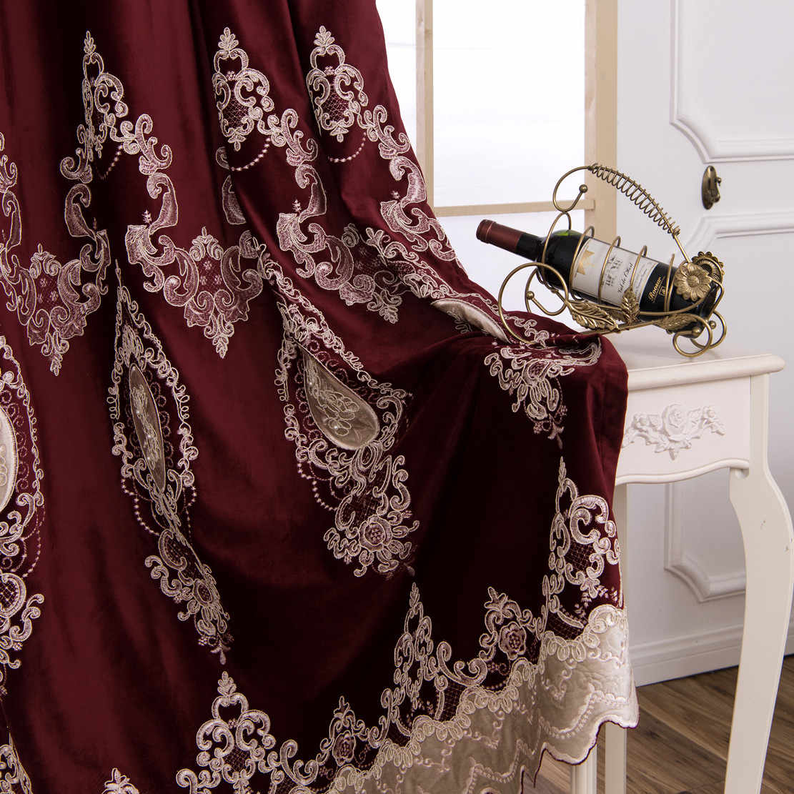 European Luxury Embroidery Curtains Burgundy Velvet Cloth Curtains with  Beads Blackout Curtain for Bedroom and Living Room