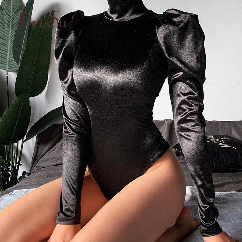 Artsu Women Sexy Black Stain Turtleneck Blouse Bodysuit Long Puff Sleeve Bodysuits Tops Female Party Short Romper Bodysuit