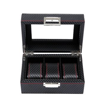Wooden Watch Box Gift Storage With Key Open Window Paint Spray W03-T Professional Fashion