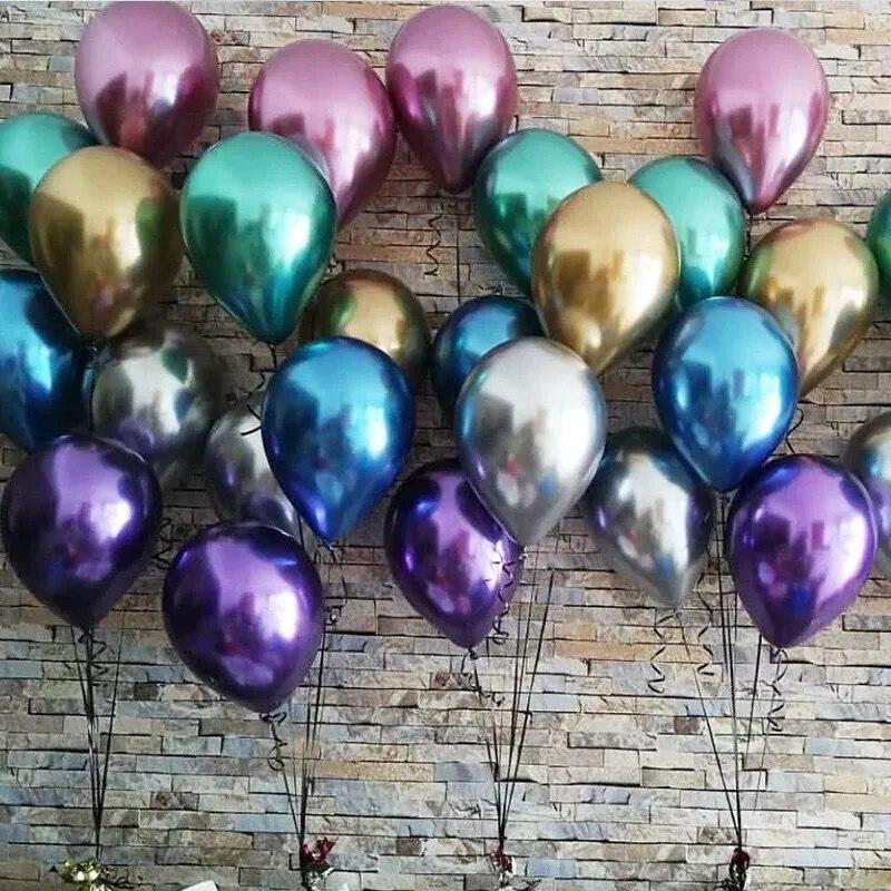50 шт. 12 дюймов металлические жемчужные латексные шары толстые хром воздушный шар с гелием золото День рождения Декор для взрослых, платье на...