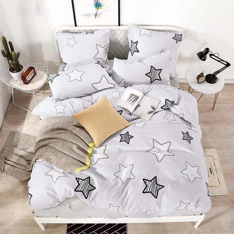 YAXINLAN bedding set Pure cotton Pure color A/B double-sided pattern Cartoon Simplicity Bed sheet quilt cover pillowcase 4-7pcs