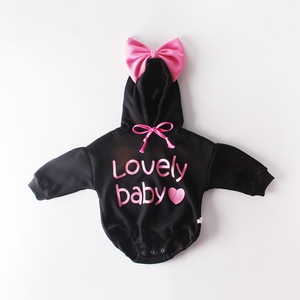 Image 2 - 2020 Pasgeboren Boog Leuke Baby letters Hooded Lange Katoenen Plus Kasjmier Mouwen Kleding Rompertjes Herfst Lente Kids Peuter Romper